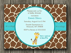 Printable Giraffe Baby Shower Invitation FREE thank you card