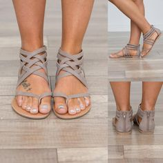 Gladiator style criss-cross upper flat sandal with toe thong and back zip Upper Material: Vegan suede Lining Material: Vegan leather Closure Type: Zip Sole Material: Rubber