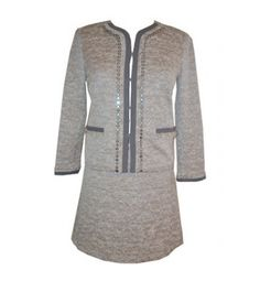 DKNY Suit Grey Metallic Tweed 2 Piece Set 10 14 Retail Price $740.00 Ours 4 Less $299.99  Take an additional 15% of code veterans