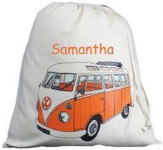 Personalised VW Split Screen Large Drawstring Bag - Orange