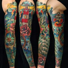 Sleeve tattoo by Fishero - Freihand tattoo