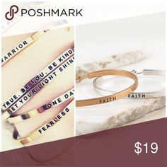 """New """"faith"""" mantra bangle Collectible, stackable, and inspirational bracelets stamped with personal messages. BEAUTIFULLY CLASSIC """"FAITH"""" ENGRAVED INSPIRATION MESSAGE METAL CUFF WITH EASY TO OPEN SPRING HINGE. Jewelry Bracelets"""