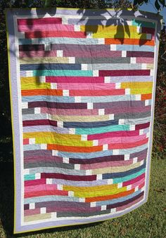 "Lovely new take on the strip quilt here in ""Mikayla's Quilt"" by Belinda Gelhausen."