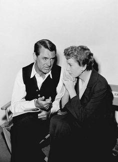 Cary Grant e Deborah Kerr no set de  An Affair to Remember, 1957.                                                                                                                                                                                 More