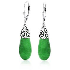 Bling Jewelry Bling Jewelry Green Jade Teardrop Filigree Leverback... ($35) ❤ liked on Polyvore featuring jewelry, earrings, green, teardrop earrings, jade jewelry, silver tear drop earrings, green earrings and silver jewellery