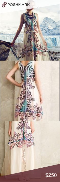 """Geisha Designs for Anthropologie Embroidered Dress Stunning toe-skimming gown (falls 58.5"""" from shoulder) . Pullover style, embroidered tulle overlay. Size 0 but runs slightly larger, imo. Worn once to a wedding ceremony and dry-cleaned after. Beautiful dress! Anthropologie Dresses Maxi"""