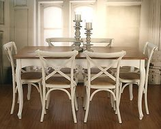 7 PIECE French Provincial Dining Table & Chairs PACKAGE Timber Top. Cross Back in Home & Garden, Furniture, Dining Room Furniture | eBay
