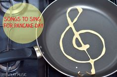 Dad would make treble clef pancakes for mom and the kids, a bass clef for himself. to sing A Pancake Day Song to Sing Preschool Music Activities, Movement Activities, Activities For Kids, Preschool Cooking, Preschool Learning, Pancake Day, Lets Play Music, How To Make Pancakes