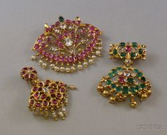 Three Indian Gem and Paste-set Pendant/Brooches Jewelry Design Earrings, Gold Earrings Designs, Gold Jewellery Design, Emerald Jewelry, Ear Jewelry, Necklace Designs, Pendant Jewelry, Gold Jewelry, Jewelery
