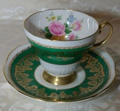 Foley Bone China Footed Cup & Saucer Green with Gold Grapevine & Flowers