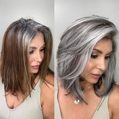 Makeover: How Jack Martin Helps Clients Stop Coloring Their Gray Hair - Color - . - - Makeover: How Jack Martin Helps Clients Stop Coloring Their Gray Hair - Color - Modern Salon Gray Hairst. Pelo Color Ceniza, Grey Hair Transformation, Gray Hair Highlights, Chunky Highlights, Caramel Highlights, Lowlights For Gray Hair, Peekaboo Highlights, Caramel Balayage, Transition To Gray Hair