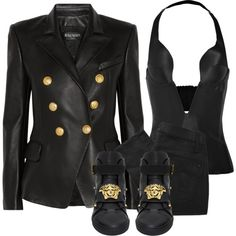 Untitled #2227 by xirix on Polyvore featuring Balmain, Ender Legard Corsetry, Marc by Marc Jacobs and Versace