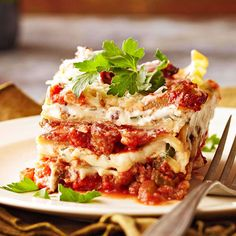 Bolognese Lasagna: This delicious lasagna is filled with layers of porcini mushrooms and ricotta cheese.