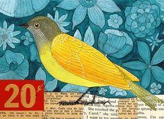 L'oiseau jaune sur fond peint et collages de papiers.
