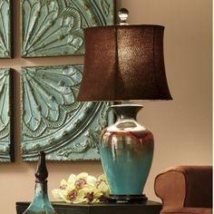 Tuscan design – Mediterranean Home Decor Mint Decor, Tuscan Style Homes, Brown Decor, Tuscan Design, Mediterranean Home Decor, Bedroom Lamps, Master Bedroom, Ceramic Table Lamps, Eclectic Decor