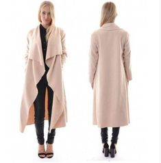 Women's Elegant Open Front Waterfall Trench Coat Cardigan ...