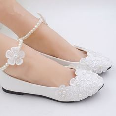 Lace White Ankle Beading Wedding Shoes Bridal Flats Low High Heel Pump Size 3-11 in Clothing, Shoes & Accessories, Wedding & Formal Occasion, Bridal Shoes | eBay