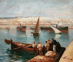 Peinture d'Algérie - Peintre Francais, Maxime NOIRÉ(1861-1927), huile sur toile 1882, Titre : Port d'Alger.