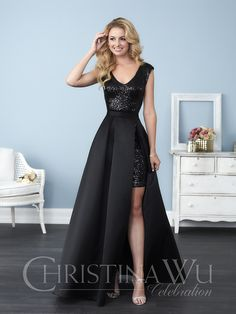 Christina Wu Celebration 22774 is a gleaming short Allover Sequin bridesmaid dress that has a removable long Satin overskirt which hooks at the waistband. Available in any combination of Allover Sequin dress and Satin removable skirt. Black Bridesmaids, Sequin Bridesmaid Dresses, Bridesmaid Dress Styles, Prom Dresses, Wedding Dresses, Bridesmaid Outfit, Formal Dresses, Christina Wu, Mini Dress With Sleeves