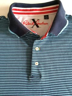 Robert Graham X Polo Golf Mens Shirt Large Blue Striped Short Sleeves   eBay