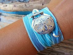 Beach Jewelry, Silk Wrap Bracelet, Delicate Sand Dollar, Surf Wrist Wrap Bracelet, Hand Made Silver Toggle Clasp, Turquoise Blue Silk Ribbon...