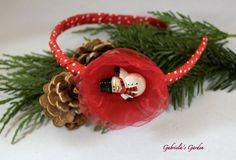 Christmas Headband Red Organza Flower and by GabrielasGarden, £6.50