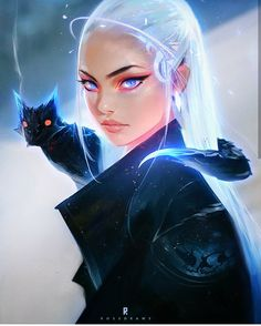 Cool Sci-fi girl with cat. Looks really good.