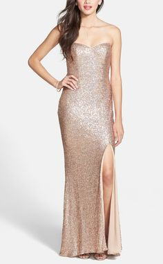 This champagne colored sequin gown would be stunning for prom!