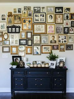Learn how to hang an ancestry gallery photo wall like this your family will love. Buffie's Home Decorating teaches you have to decorate a lovely home. You can end the home decorating overwhelm. Get her FREE guide: 7 Steps to a Lovely Home! Frames On Wall, Photo Frame Walls, Family Photo Walls, Picture Walls, Wall Collage, Inspiration Wall, Wall Design, Photo Wall Displays, Family Photo Displays