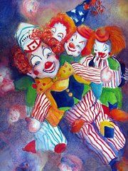 Clowns Paintings - Dreamy by Myra Evans