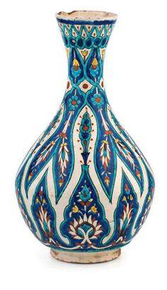 Alif Art | Kutahya Ceramic Vase h: 29 cm. 19th - 20th century