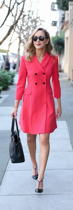 red double-breated coat dress, sjp collection ankle strap carrie pumps, classic work tote bag
