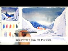 Winter Landscape. Step by step easy watercolor tutorial - YouTube