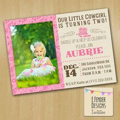 Modern Cow Girl Birthday Party Printable Photo Invitation in pink and brown with paisley bandana