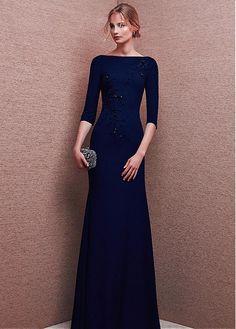 Marvelous Chiffon Bateau Neckline Three-quarter Length Sleeves Sheath Evening Dresses With Beadings