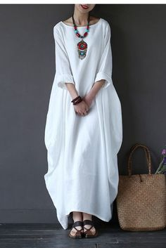 White Bat Sleeve Causel Long Dress Plus Size Oversize Women Clothes 1638 - FantasyLinen Winter Coats Women, Coats For Women, Clothes For Women, Vestidos Retro, Womens Denim Dress, Overalls Women, Maxi Robes, Dress Robes, Linen Dresses