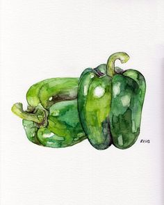 Bell Pepper Painting Print from Original by TheColorfulCatStudio, $12.00