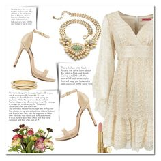 """Golden Bohemian Dress"" by christinacastro830 ❤ liked on Polyvore featuring Betsey Johnson, Palm Beach Jewelry, Chico's, OKA, Steven by Steve Madden, Elizabeth Arden, women's clothing, women's fashion, women and female"