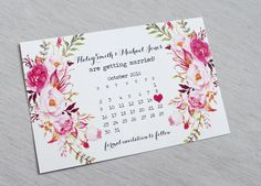 Modern Watercolour Floral Save the Date Floral by LoveofCreating