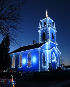 A Blue Christmas. A church decorated in blue Christmas lights. Blue Christmas, Outdoor Christmas, Christmas Photos, Christmas Lights, Christmas Colors, Canada Christmas, Merry Christmas, Christmas Mantles, Victorian Christmas