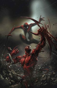 Spider-Man vs Carnage  Art by: Clayton Crain  Did you know that Carnage was once a serial killer known as Cletus Kasady, and became Carnage after merging with the offspring of the alien symbiote called Venom during a prison breakout?