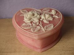 jewelry box pink heart white roses incolay stone by ShoponSherman, $30.00