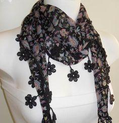 Black Flowered Elegance Shawl / Scarf with Lace by SwedishShop, $13.90