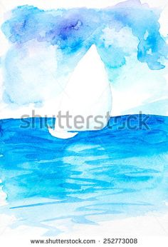 Sailboat. Hand drawn watercolor painting - stock photo http://submit.shutterstock.com/?ref=1553807