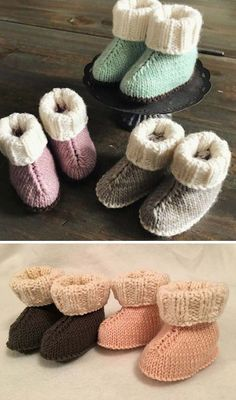 Baby Hug Boots This knitting tutorial / pattern is available for free. Baby Booties Knitting Pattern, Baby Shoes Pattern, Baby Knitting Patterns, Baby Patterns, Crochet Patterns, Knitting For Kids, Crochet For Kids, Free Knitting, Knit Crochet