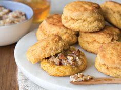 Sweet Potato Biscuits with Honey-Pecan Butter | Try these split and stuffed with Virginia ham, without the Honey-Pecan Butter.