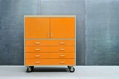 Industrial Orange Steel Loft Cabinet : 20th Century Vintage Industrial Modern50 Style