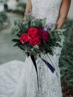 red and green wedding bouquet - Lindsey Morgan Photography