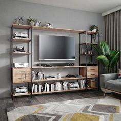 Szafka RTV APRIL-industrialna komoda z metalu i drewna Flat Screen, Architecture, Metal, House, Furniture, Home Decor, Home Furniture, Bedroom Closets, Yurts
