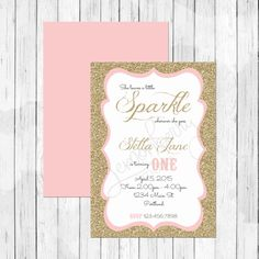 She Leaves a Little Sparkle Wherever She Goes - Gold Glitter and Pink Birthday Invitation or Evite - First Birthday Invitation